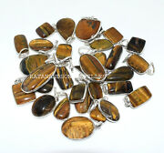 Tiger Eye Gemstone Pendantand039s 92.5 Sterling Silver Handmade Jewelry For Womanand039s