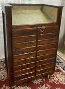 Vintage Rustic Podium Host Stand Bar Valet With Storage Casters W/ Lock And Key