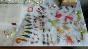 Lot Of 43 Vintage Assorted Fishing Lures Flies Weight W/ Tackle Box