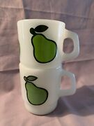 Set Of 2 Fire King Anchor Hocking-green Pear-coffee Mugs Or Cups Stackable.
