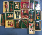 17 Russ Country Antique Christmas Ornaments Nativity Harp Drummer Boy Sled Mouse