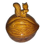 Vinatge Ceramic Lidded Nut Candy Dish Walnut Shaped With Squirrel On Top