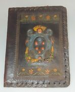 Antique Leather Bible Or Book Cover Hand Tooled Crown And Flowers Design