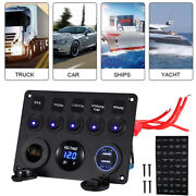 5 Gang On-off Blue Led Toggle Switch Panel Voltmeter Dual Usb F Motor Homes Bus