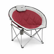 Core Equipment Oversized Padded Round Moon Camping Folding Chair, Wineopen Box