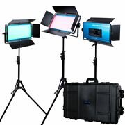 Dracast Led1000 X Series Rgb And Bi-color Led 3 Light Kit With Injection Mold...
