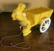 Vintage Yellow Easter Bunny Rabbit Plastic Pull Along Cart Basket Blow Mold 13l