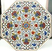 42 Inches Nature Art With Stone Inlaid Patio Table Top White Dining Table Top
