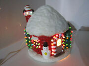 Vintage Ceramic Christmas Round Lighted House Santa Clause Snowman Holiday Deco