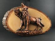 Hand Crafted Live Edge Wood Plaque W/copper Look Howling Wolves Black Antiquing