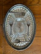 Sheffield England Oval Silver Plated Serving Tray W/glass Insert And 4 Forks