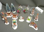 Lot/14 Pieces Sugar N Spice Christmas Village Accessories Candy Cane Lights Work