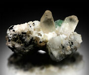 Natural Topaz Crystals With Green Fluorite And Schorl Mineral Specimen - 195 G