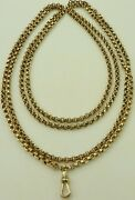 Antique 58 Inch 9ct Yellow Gold Muff Guard Watch Chain Necklace Weighs 41.5 Gms