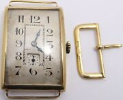 Antique 18ct Gold Art Deco Gents Swiss Wrist Watch And 18ct Buckle. Not Working.