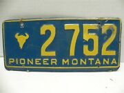 Vintage 1950's Montana State License Plate Pioneer Montana 2752 Collectible