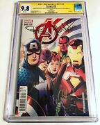 Cgc Ss 9.8 Avengers 44 Variant Signed By Evans Renner Olsen And Bettany