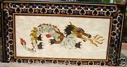 4and039x2and039 Marble Dining Coffee Table Top Dragon Art Pietra Dura Inlay Halloween Gift