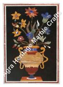 4and039x2and039 Black Marble Dining Center Side Table Top Maruetry Inlay Garden Decor E558