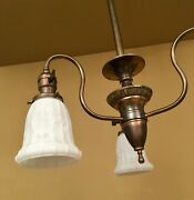 Vintage Lighting Circa 1905 Early Electric 3 Arm Pendant. Rewired