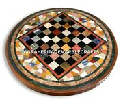 Marble Chess Coffee Table Top Multi Mosaic Inlay Christmas Gift Home Decor H4568
