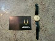 Vintage 1969 14k Yellow Gold Bulova Accutron M9 Tuning Fork Leather Band Works