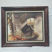 Vintage Brent Painting Us Post Mail Box Mid Century Modern Framed