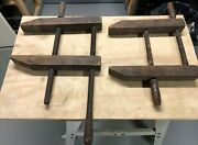 Vintage Antique Primitive Wooden Screw Bench Vise Clamp Clamps Wood Working