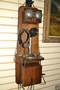 Rare Antique Western Electric Oak Wood Double Box Wall Candlestick Telephone 34