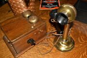 Antique Vintage Western Electric Brass Candlestick Telephone And Ringer Box Set