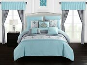 Chic Home Emily 20 Piece Comforter Set Color Block Floral Embroidered Bag Beddin