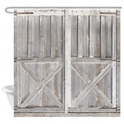 Rustic Wooden Barn Door Decor Shower Curtain For Bathroom Western Country Theme
