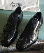 Alexander Mcqueen Men's Black Stud Flame Leather Oxford Shoes - New With Box