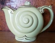 Vtg Rare Hall Pottery Snail Shell Teapot W/lid 6 Cup Hand Painted Gold Trim