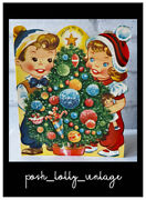 Vintage 1950and039s Unused Children Christmas Tree Decorations Greeting Card Eb1090