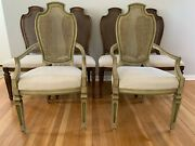 1970and039s Century Furniture Co. Six Dining Chairs Wood Cane Back 2 Arm+4 Side