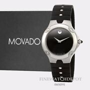 Authentic Movado Menand039s Sports Edition Black Dial Rubber Strap Watch 0604591