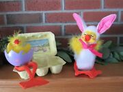 3 Pcs Annalee Easter Ducks Egg Shell Crate 2013 Bunny Ears Pink Yellow White 10