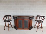 Theodore Alexander Neo-classical Leather Top Bar And Stools - 3 Pc Set