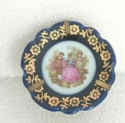 Al. Vintage Limoges France Courting Couple Cobalt Blue Mini Plate With Stand 2