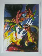Hawkman And Hawkgirl Vs T-rex - Dc Vintage 1978 Laminated Comic Book Pinup Poster