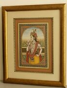 Handmade Lord Krishna Painting Decorated With Real Emerald Ruby And Pearl Used