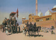 Mogul Mughal Court Great Mosque Delhi India Historical Vintage Painting Artwork