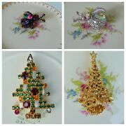 Vintage 50s Jewelry Lot Brooches Weiss Boucher Pins Christmas Trees Ladybugs