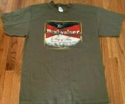 Budweiser Distressed Beer Logo Army Green Men's Large T-shirt New W/o Tags