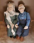 Grandparent Dolls - 30 Inch - Handcrafted Ceramic With Wooden Swing And Cane