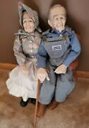 Grandparent Dolls - 24 Inch - Handcrafted Ceramic With Wooden Bench And Cane