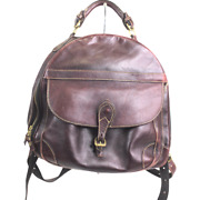 Vintage Holland Brothers Brown Leather Travel Backpack Handmade In America