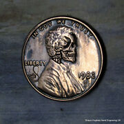 1982 Lincoln Skull Series Carved Cent Hobo Nickel By Shaun Hughes