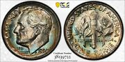 1954 D Pcgs Secure Ms67 Superb Gem Colorful Toned Roosevelt Dime With A Trueview
